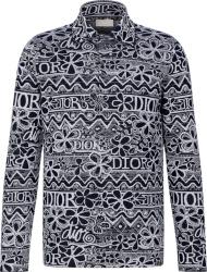 Dior X Shawn Floral Jacuard Navy Shirt.jpga
