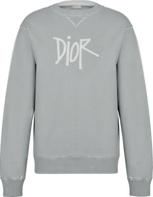 Dior X Shawn Grey Logo Print Sweatshirt