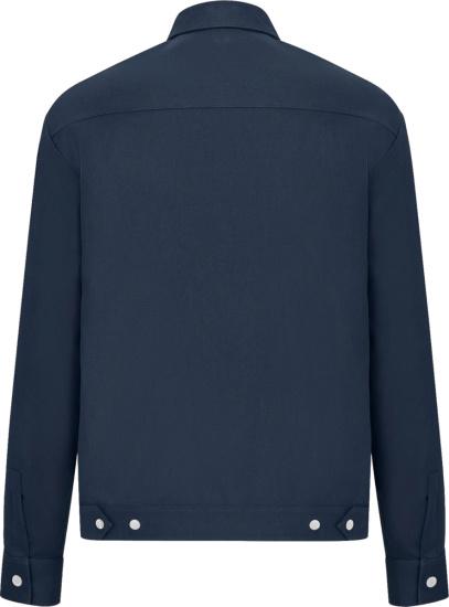 Dior X Shawn Navy Blue Zip Logo Patch Work Overshirt