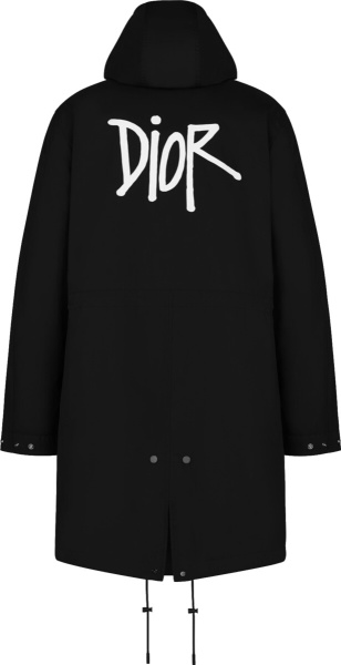 Dior X Shawn Stussy Black Hooded Parka