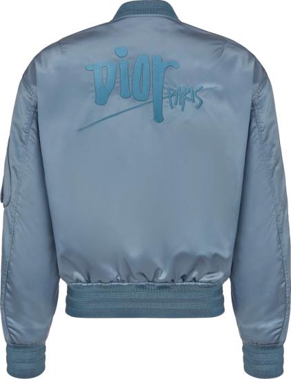 Dior X Shawn Stussy Blue Satin Bomber Jacket