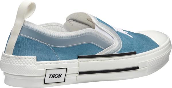 Dior X Shawn Stussy Blue Slip On Sneakers