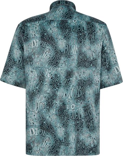Dior X Shawn Stussy Blue Tie Dye Wavy Logo Shirt
