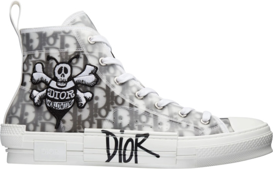 Dior X Shawn White Black Oblique Bee Patch High Top Sneakers