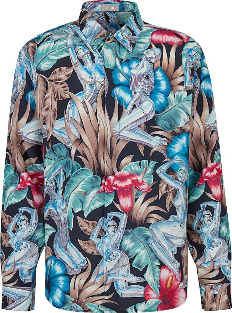 Dior X Sorsyama Floral Print Black Shirt