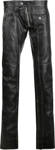 Distressed Black Leather Biker Pants
