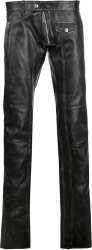 Distressed Black Leather Biker Pants