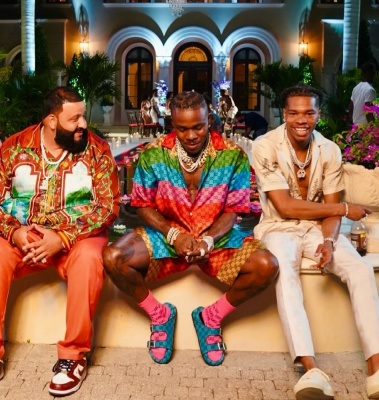 Dj Khaled Waring A Brown Shirt And Nike X Supreme Sneakers With Dababy In Multicolor Gucci And Lil Baby In Amir