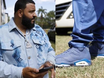Dj Khaled Wearing A Blue Louis Vuitton Watercolor Monogram And Jordan 5 Leather Sneakers