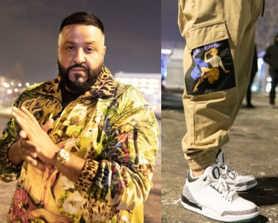 Dj Khaled Wearing A Dolce Gabbana Coachs Jacket And Cargo Joggers With Jrodan X Oregon 3s