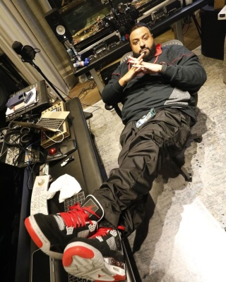 Dj Khaled Wearing A Jordan Quarter Zip And Ovo 4s With A Hublot Watch