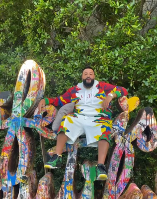 Dj Khaled Wearing A Valentino White And Multicolor Camouflage Hoodie And Shorts