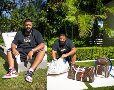 Dj Khaled Wearing White Red Glitter Jordan And Louis Vuitton X Nba Bags