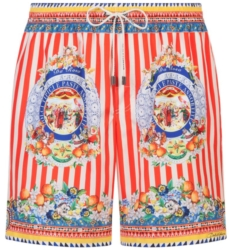 Dolce And Gabban Red And White Striped Swim Shorts