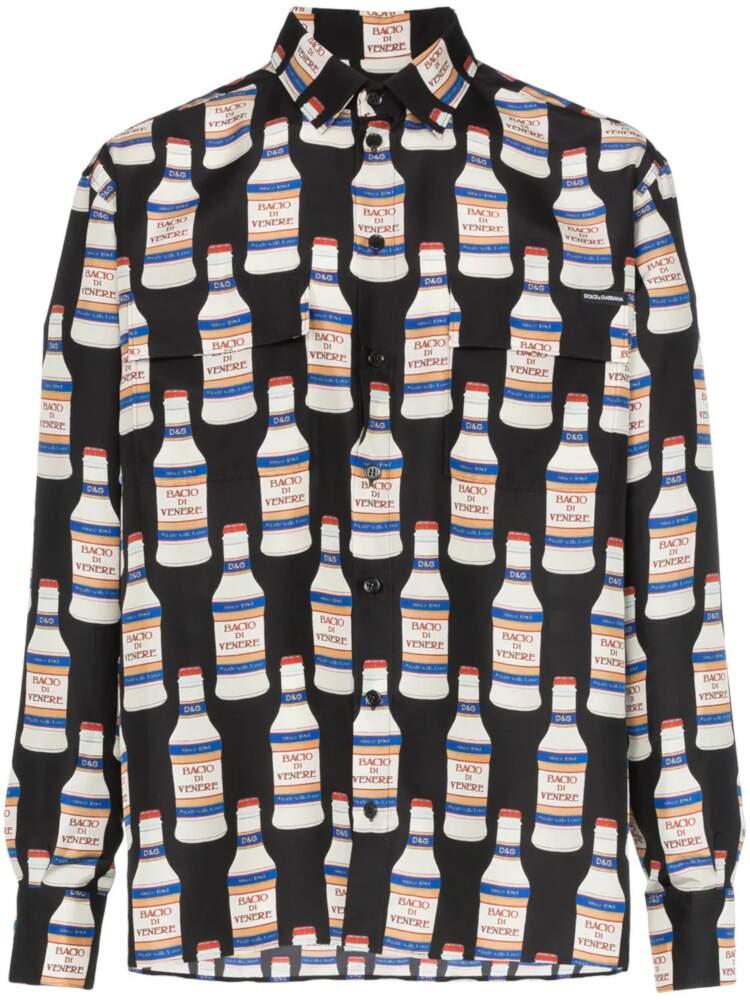 Dolce And Gabbana Allover Vodka Bottle Printed Shrit