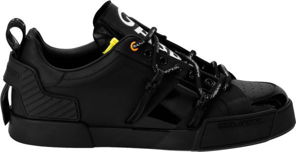 Dolce And Gabbana Black And Patent Accent Portofino Sneakers