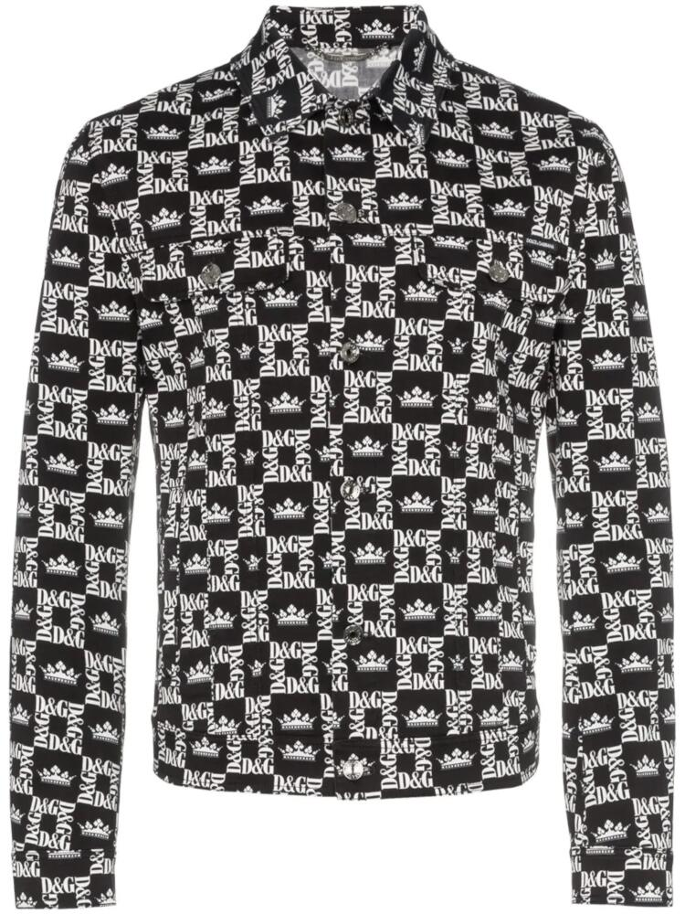 Dolce And Gabbana Black And White Printed Jacket