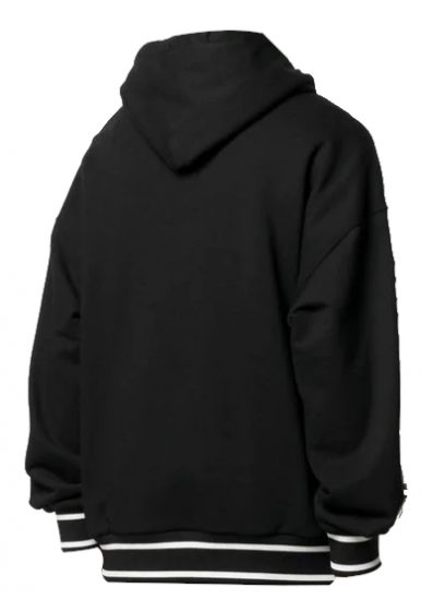 Dolce And Gabbana Black Hoodie With White Cuffs And Hem Worn By Rick Ross