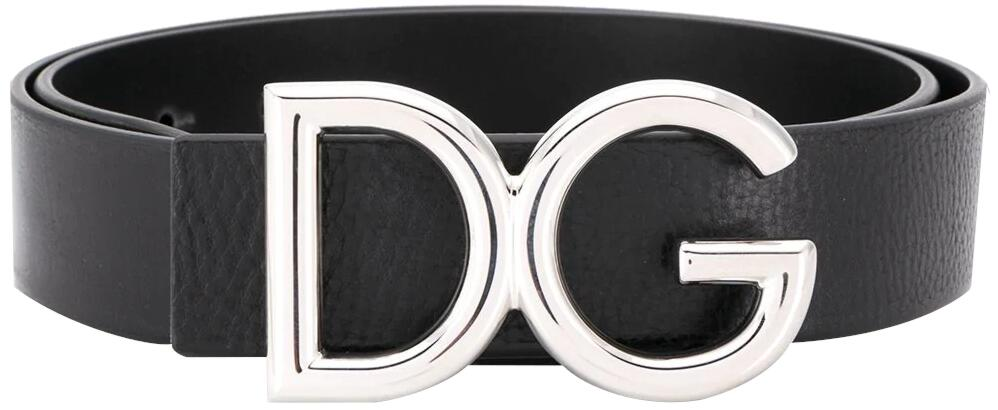 Dolce And Gabbana Black Leather Belt With Silver Tone Lg Buckle