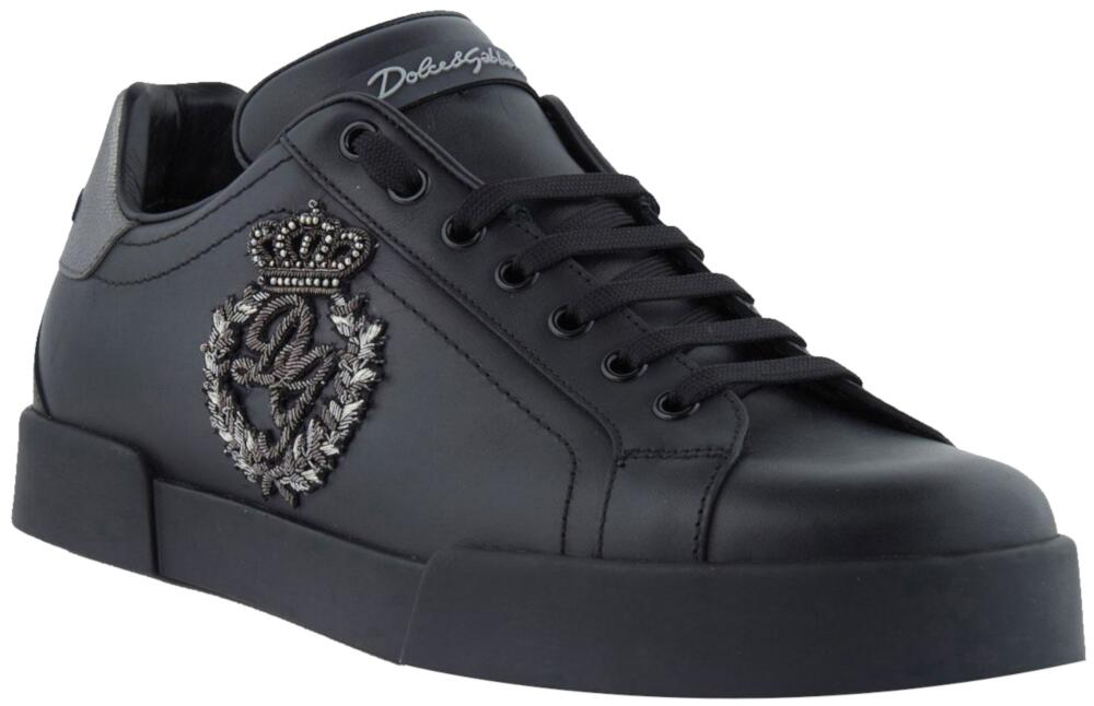 Dolce And Gabbana Black Leather Crown Patch Sneakers