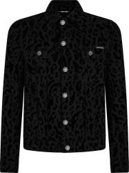 Black Leo-Print Denim Jacket