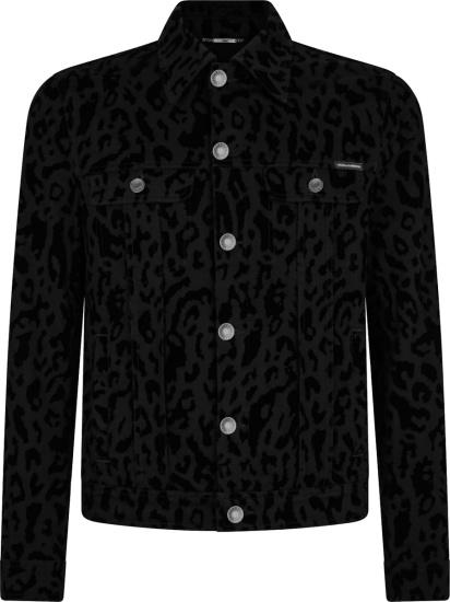 Dolce And Gabbana Black Leopard Print Denim Jacket