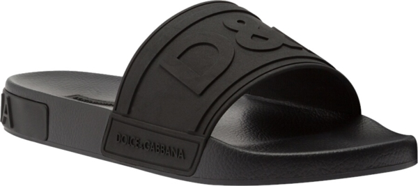 Dolce And Gabbana Black Rubber Slides