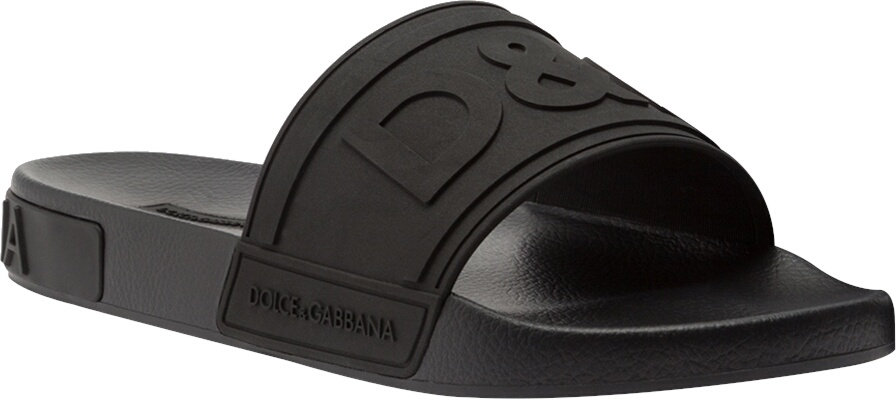 Dolce And Gabbana Black Rubber Slides
