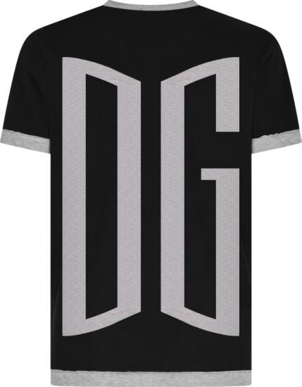 Dolce And Gabbana Black Two Tone Large Dg Logo T Shirt