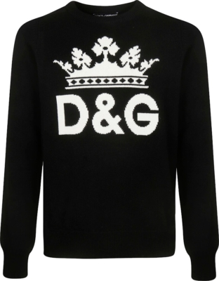 Dolce And Gabbana Dg Crown Jacquard Black Sweater