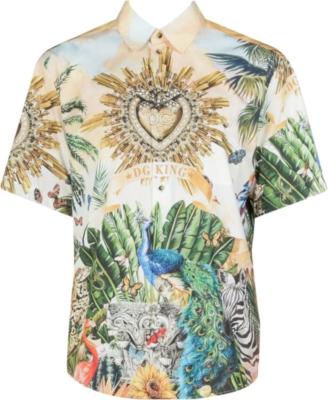 Dolce And Gabbana Dg King Safari Hawaii Print Shirt