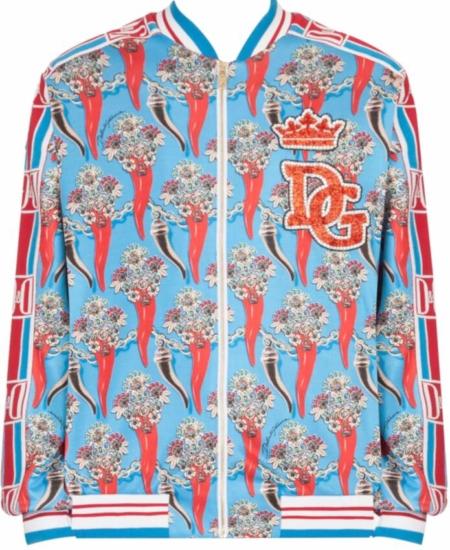 Dolce And Gabbana Embellished Logo Patch Printed Jacket