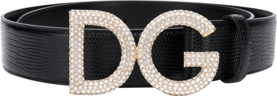 Dolce And Gabbana Embossed Buckle Black Leather Belt