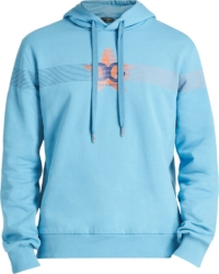 Star-Logo Print Light Blue Hoodie