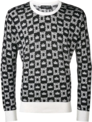 Dolce And Gabbana Logo Grid Print Black Sweatshirt