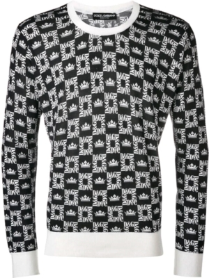 Dolce And Gabbana Logo Grid Print Black Sweatshirt