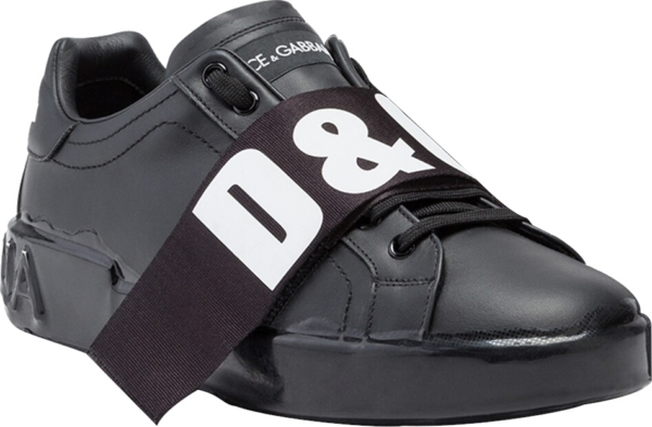 Dolce And Gabbana Logo Strap Black Sneakers
