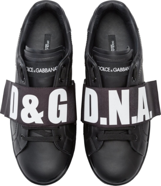 Dolce And Gabbana Nappa Melt Portofino Black Sneakers