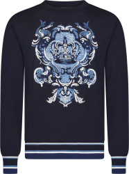Dolce And Gabbana Navy And Light Blue Crest Logo Sweater