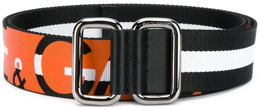 Dolce And Gabbana Orange Logo Stripe Belt