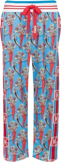 Dolce And Gabbana Red And Blue Printed Pants