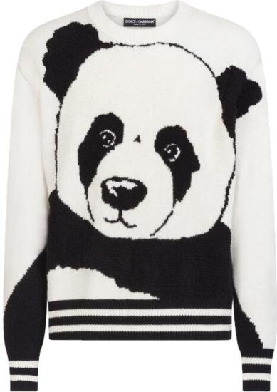 Dolce And Gabbana White And Black Panda Sweater