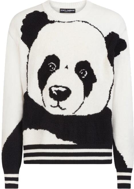 Dolce And Gabbana White And Black Panda Sweater