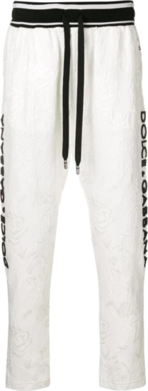 Dolce And Gabbana White Logo Embellished Trackpants