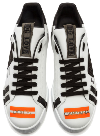 Dolce And Gabbana White Portofino Sneakers With Black Patch And Orange Stripes