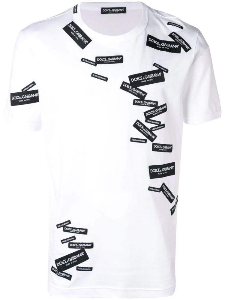 Dolce And Gabbana White T Shirt With Black Allover Labels
