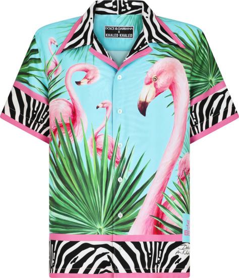 Dolce And Gabbana X Dj Khaled Light Blue Green And Pink Flamingo Shirt
