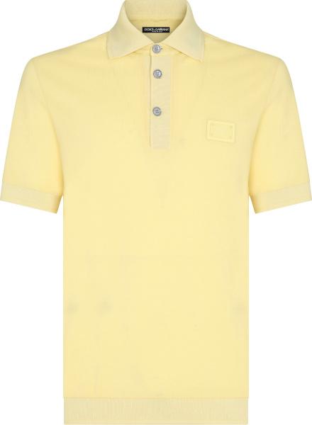 Dolce And Gabbana Yellow Logo Patch Polo Shirt