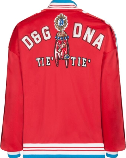 Dolce And Gabbanan Zip Up Track Jacket With Button Snap Sides And Multicolor Print