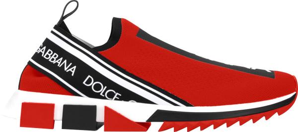 Dolce Gabbaa Red Sorrento Slip On Sneakers